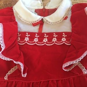 Sears Dresses - Vintage Sears Girls Red Holiday Dress 5 Years